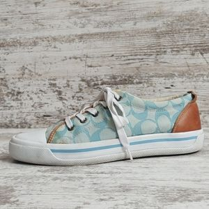 🔵Coach Canvas Sneaker Leather Accents